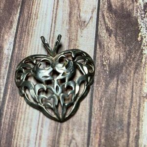 "Silver Heart 1"" with dual bail/gleaming edge cuts"